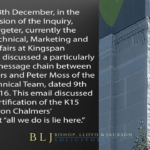"""On Tuesday 8th December, at Public Inquiry, Mr. Adrian Pargeter, the Director at Kingspan Insulation UK, discussed a particularly illuminating message chain in which Arron Chalmers' comments in the message that """"all we do is lie here""""."""