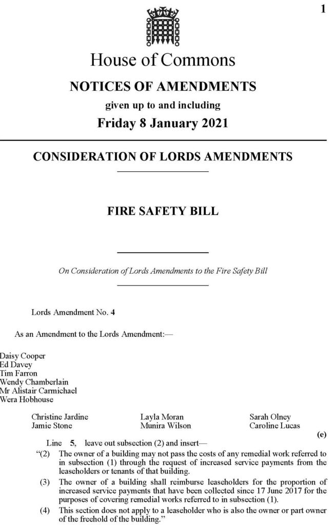 Fire Safety Bill – Consideration of Lords Amendments – 08 Jan 2021